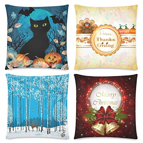 URDER Winter Forest Landscape Bell DecorThrow Pillow Case Cushion Covers with Zipper, Decorative Square Linen Pillowcase for Sofa/Bed/Chair, 20x20 inch Set Of 2