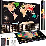 AHNR Scratch Off Map of The World, Premium United States Map, Travel Tracker Map Includes Complete Accessories Set | Scratch Off Map Wall Poster with Highly Detailed for Travelers