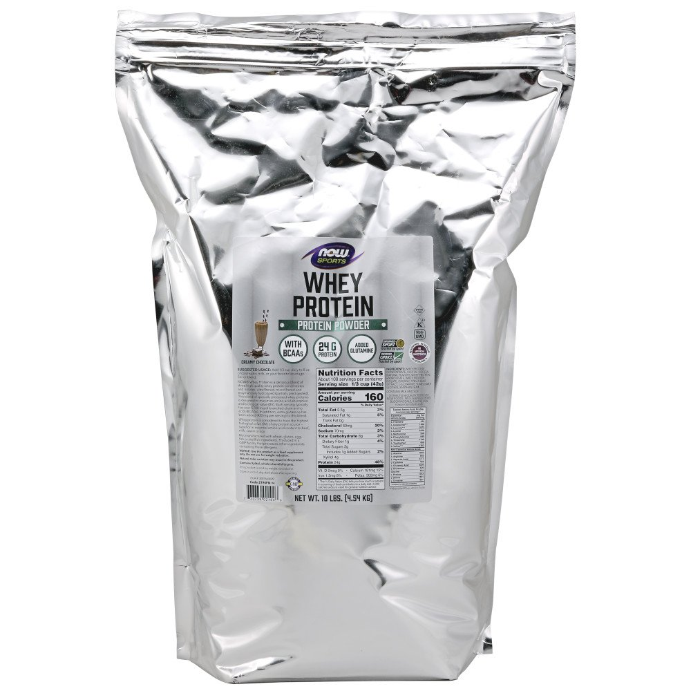 NOW Sports Whey Protein, Creamy Chocolate, 10-Pound
