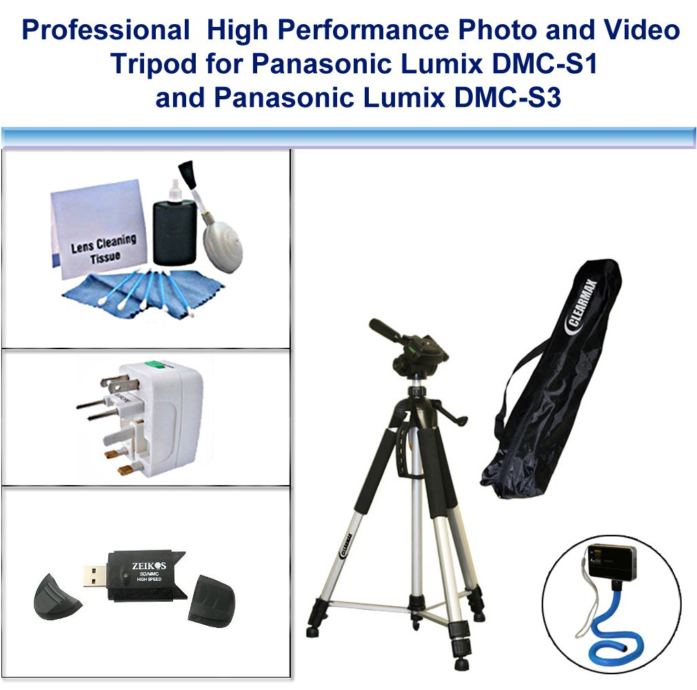 Professional High Performance Photo and Video Tripod with Flexible Monopad, USB Card Reader, Universal Adapter and 5PC Lens Cleaning Kit for Panasonic Lumix DMC-S1, Panasonic Lumix DMC-S3