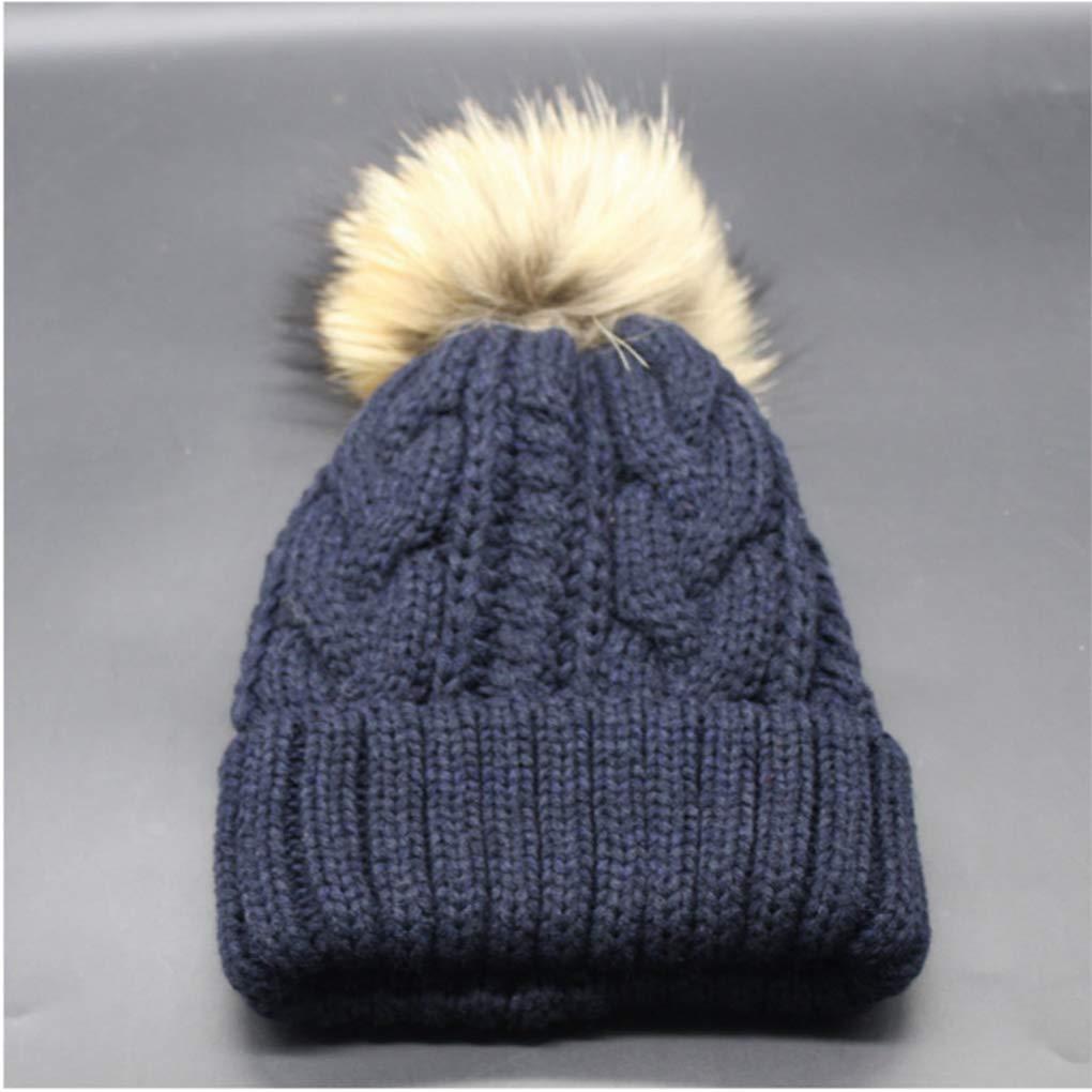 Winter Cap Women Hat Pompon Beanie Real Raccoon Fur Thick Knitted Fleece Liner Caps Warm Female Russian Bonnet