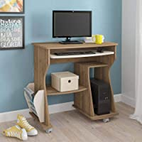 Artely 160 Computer Desk, With Space for Keyboard, CPU and Printer; Pine Brown with Off White, W 88 cm x D 46 cm x H 78…
