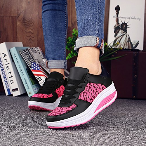 Comfortable Weight Slip Lose uruoi Rose Breathable Platform on Shoes Walking Women's Wedge Shake Shoes vY66qE