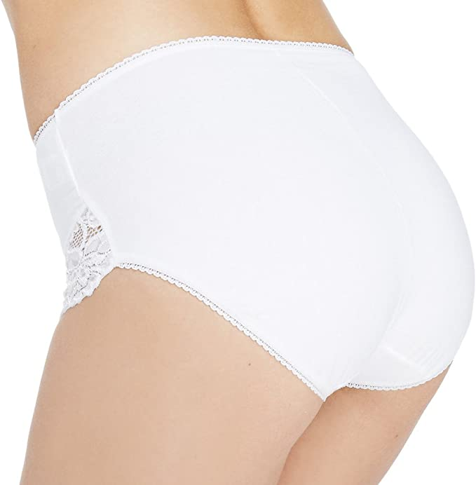 M/&S The High Leg Knickers Lace Front White UK Size 8-22 24-26 NEW TAGS £8