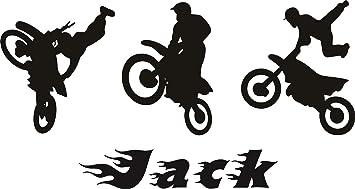 Personalisierte Vinyl Wand Aufkleber Motorrad Motocross Trio