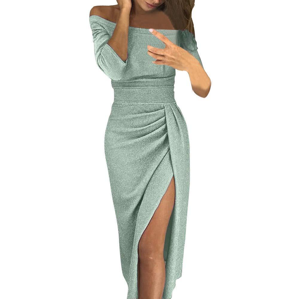 WOCACHI Dresses for Womens, Women Off Shoulder High Slit Bodycon Dress Long Sleeve Dresses Girlfriend Boyfriend Gift Fashion Newest Couples Summer