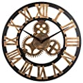 Noiseless Silent Gear Wall Clock - Large 3D Retro Rustic Country Decorative Luxury Art Big Wooden Vintage for House Warming Gift