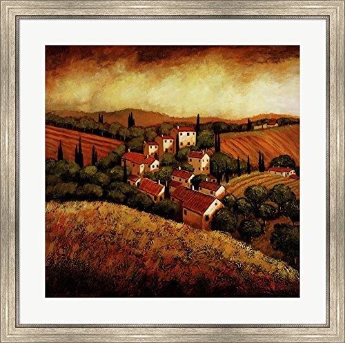 Tuscan Hillside Village by Santo Devita Framed Art Print Wall Picture, Silver Scoop Frame, 32 x 32 ()