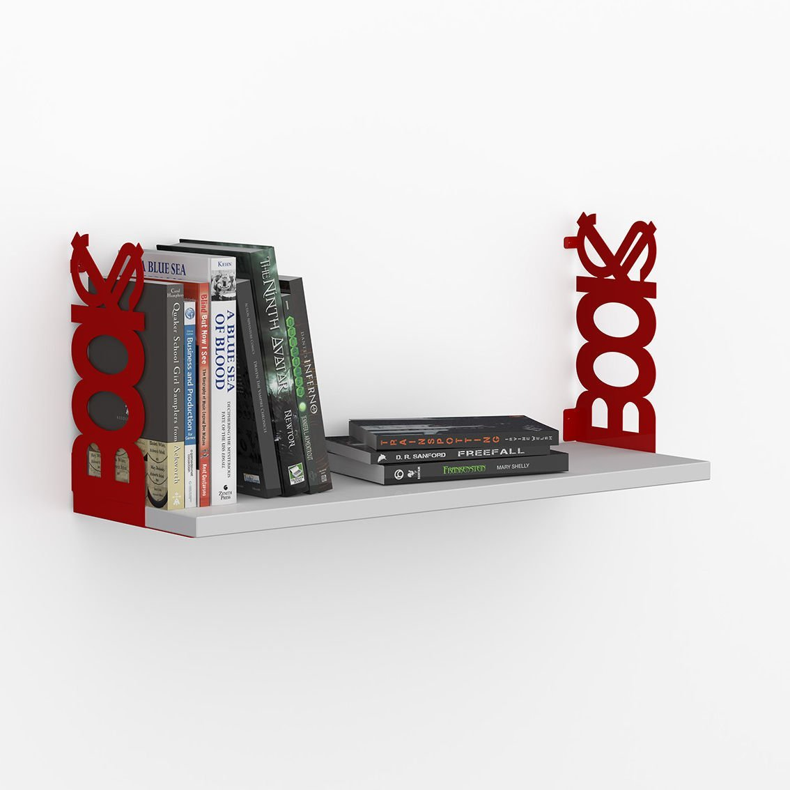 LaModaHome Red Iron Handle White Wall Shelf, 100% Melamine Coated Particle Board - Size (28.3'' x 7.9'' x 7.9''), Easy to Hang with Invisible Brackets, Wall Mounted Floating Shelves for Home & Office