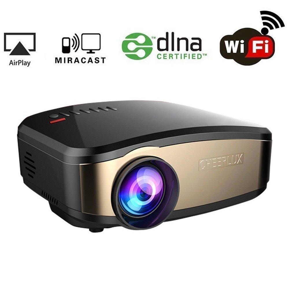 WiFi Video Beamer, HuiHeng Wireless Projektor Mini LCD Beamer Full HD Multimedia Projektor für Party Home Entertainment Video Spiele Unterstützung AirPlay Miracast Wireless Display HUIHENGC6DE