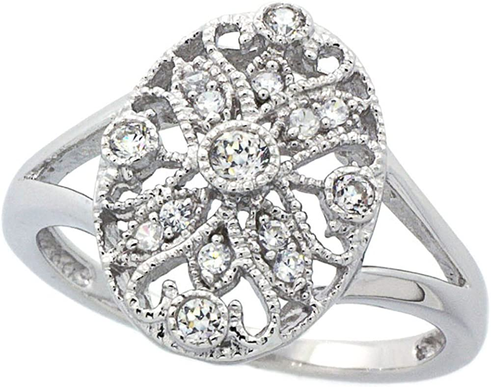 10k Yellow Gold and Rhodium Plated Diamond-Cut Filigree Ring Size 6 Ideal Gifts for Women