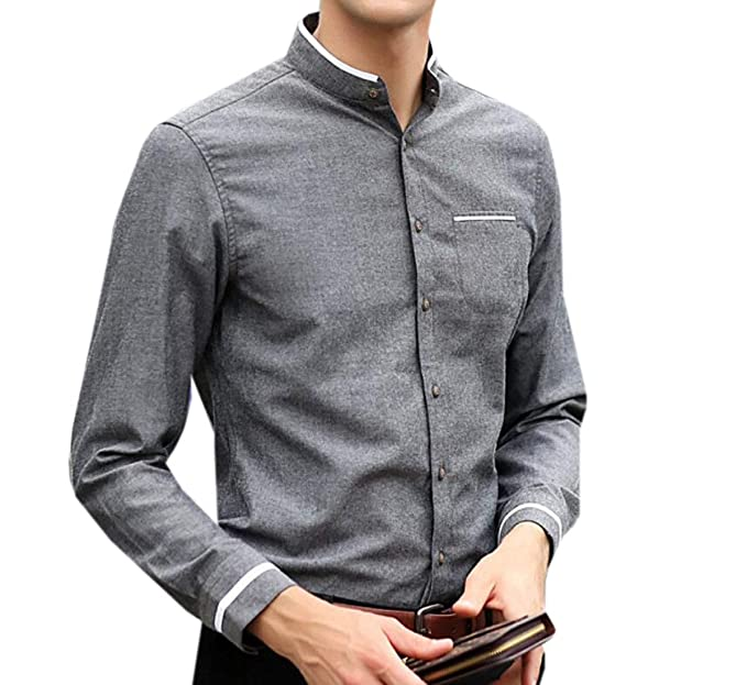 M/&S/&W Mens Dress Shirts Slim Fit Solid Color Long Sleeve Button Down Shirts