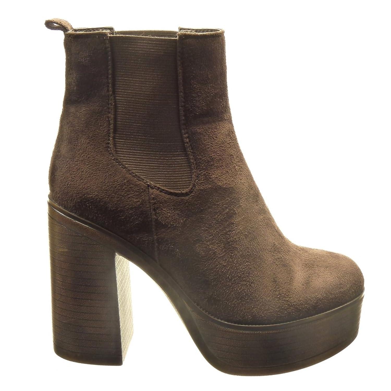 Angkorly - Zapatillas de Moda Botines chelsea boots zapatillas de plataforma altas mujer Talón Tacón ancho alto 11 CM - Marrón AS1566 T 38 LbEYI