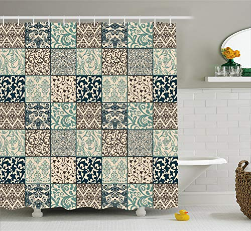 Lunarable Patchwork Shower Curtain, Antique Mosaic with Victorian Garden Motifs Damask and Scroll Flower, Fabric Bathroom Decor Set with Hooks, 84 Inches Extra Long, Seafoam Brown Dark Blue