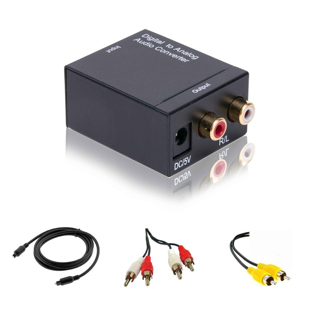 enKo Products Digital Coax or Optical Toslink to Analog Converter, 3ft Toslink cable + Coax cable +R/L cable included