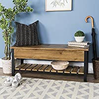 New 48 Inch Wide Open-Top Storage Bench with Shoe Shelf - Barnwood Color