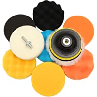 11Pcs de Esponja de Pulido encerado kit de cojín para el amortiguador de pulido del coche con adaptador de taladro(3inch)