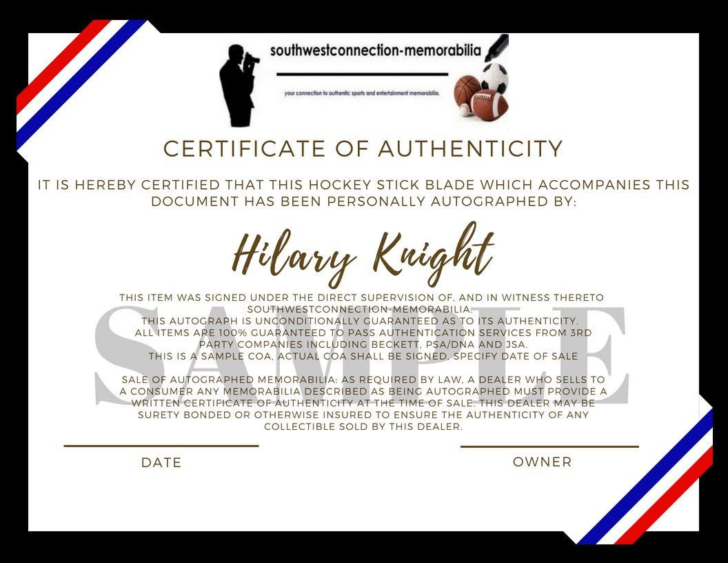 Hilary Knight Autographed Hand Signed USA Flag Logo Hockey Stick Blade with USA Gold Inscription and Proof Photo of Signing, COA, 2018 United States Woman's National Hockey Team, USWNT, Winter Olympic