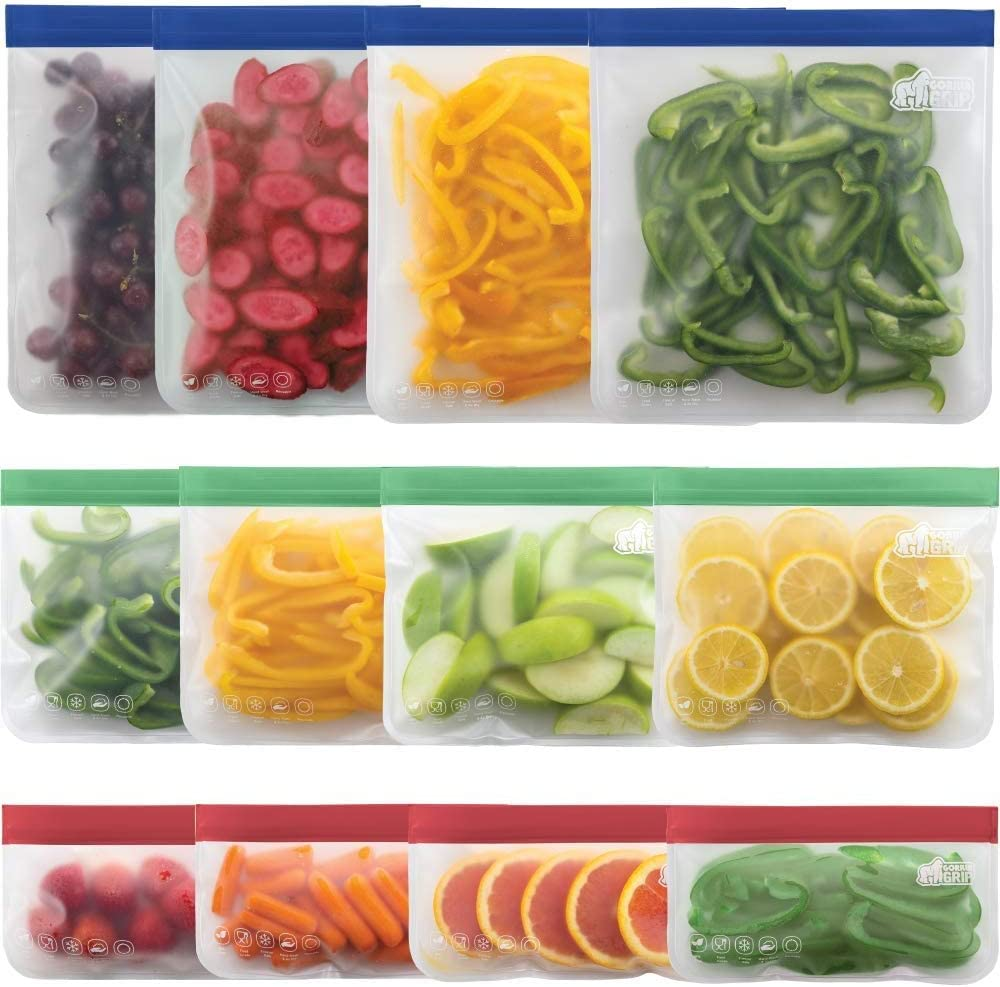 Reusable Storage Bags, Washable Silicone Food Bag Ziplock Bags(12Pack) for Food, Lunch, Sandwich, Fruit, Snack, Travel