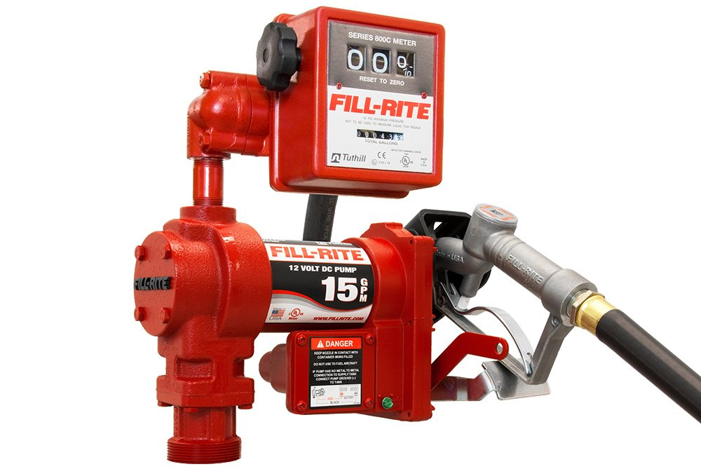 Fill-Rite FR1211G 12V DC Pump, Suction Pipe, 3/4''x12' Hose, 1'' Inlet & 3/4'' Manual Nozzle, 807C Meter by Fill-Rite (Image #1)