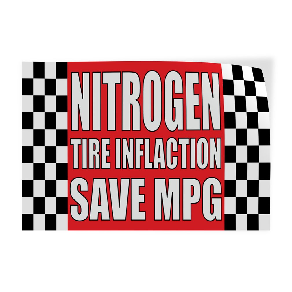 Set of 5 Decal Sticker Multiple Sizes Nitrogen Tire Inflation Save MPG #1 Business Nitro Outdoor Store Sign Red 27inx18in