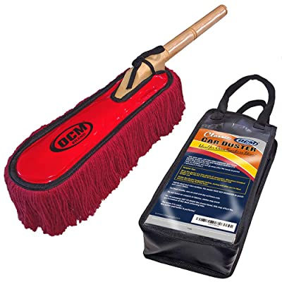 OCM Brand Classic Car Duster with Solid Wood Handle Includes Storage Case - Popular Detailers Choice: Automotive