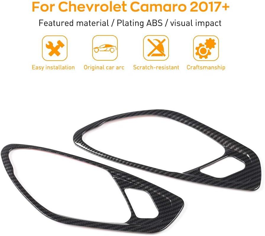 JeCar Door Interior Grab Handles Cover Frame Sticker Decor Trim ABS for Chevrolet Camaro 2017+(Carbon Fiber