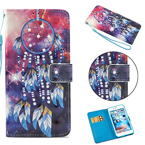 """iPhone 6S Case, iPhone 6 Case, ZERMU 3D Bling Shiny Diamond Premium PU Leather Flip Folio Wallet Case with Kickstand Card Holder ID Slot and Hand Strap Shockproof Protective Cover for iPhone 6/6S 4.7"""""""