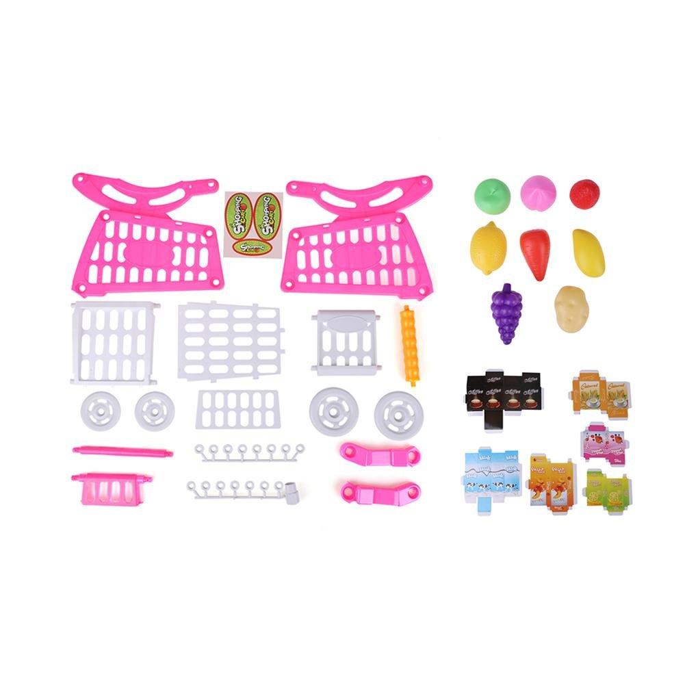 los ni/ños peque/ños juegan al supermercado Supermercado Puesto de Mercado para ni/ños Carro de Compras con Frutas y Verduras Comestibles Carro de Compras de pl/ástico para ni/ños Blue with Food