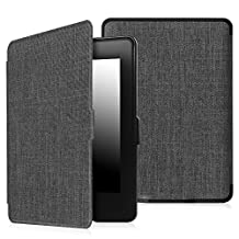Fintie Case for Kindle Paperwhite - The Thinnest and Lightest PU Leather Cover with Auto Sleep/Wake for All-New Amazon Kindle Paperwhite (Fits All 2012, 2013, 2015 and 2016 Versions), Charcoal Fabric