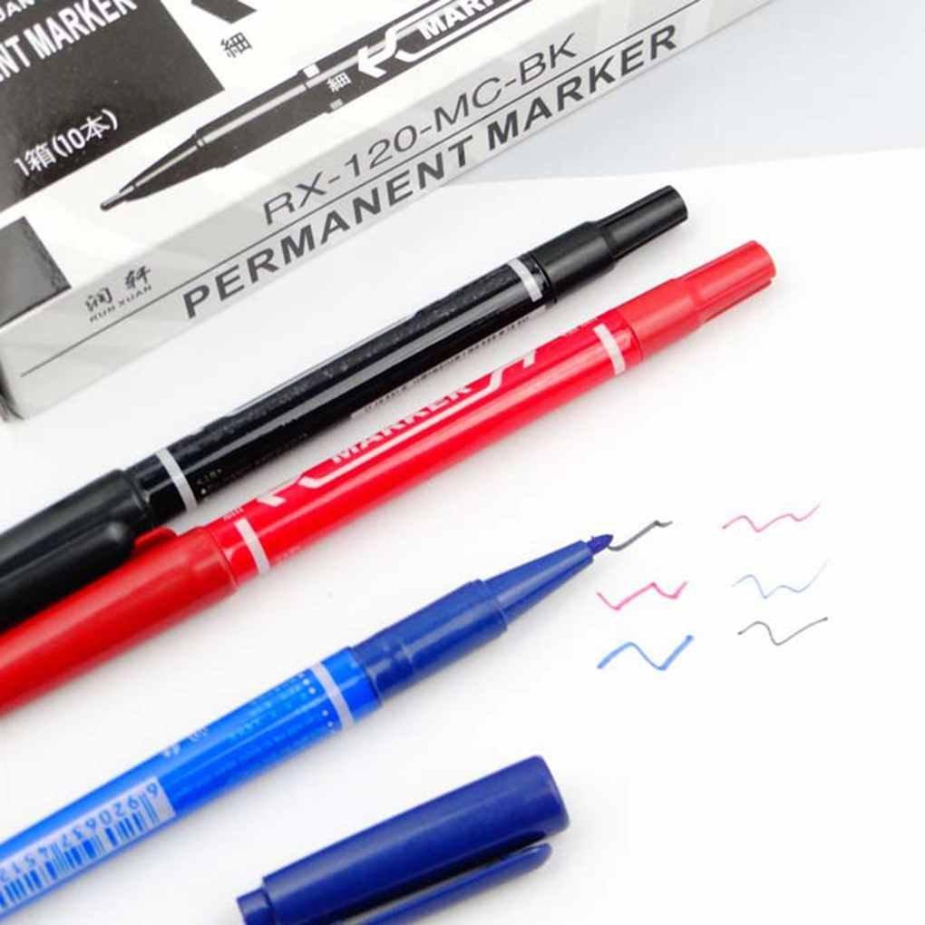 Bobury Stylo de marque a double tete mince Plastic Permanent Marker Office Papeterie Fournitures