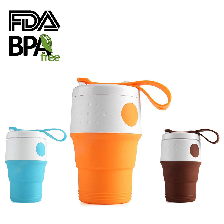 折りたたみ可能な旅行コーヒーカップ、13.5oz Foldable Travel Mug with漏れ防止蓋、BPA Free食品グレードの屋外キャンプハイキングピクニック B0761MG5V2 オレンジ オレンジ