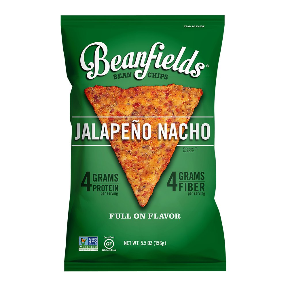 Beanfields Bean Chips, High Protein and Fiber, Gluten Free, Vegan Snack, Jalapeno Nacho, 5.5 Ounce (Pack of 6)