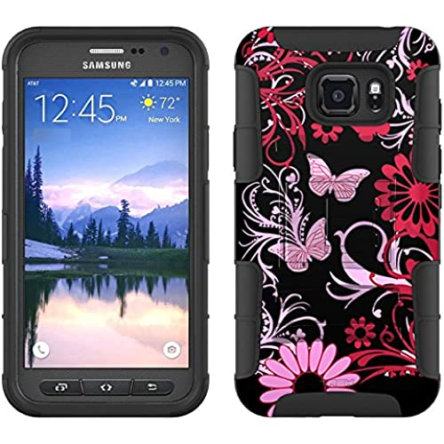 Samsung Galaxy S7 Active Armor Hybrid Case Pink Butterfly on Black 2 Piece Case with Holster for Samsung Galaxy Sales