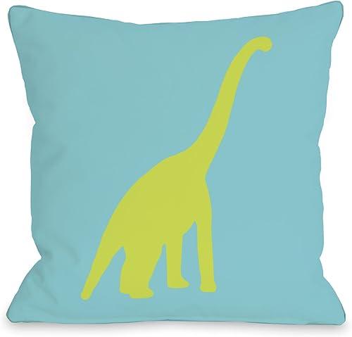 One Bella Casa Apatosaurus Polka Dots Throw Pillow by OBC, 20 x 20 , Neon Blue Green