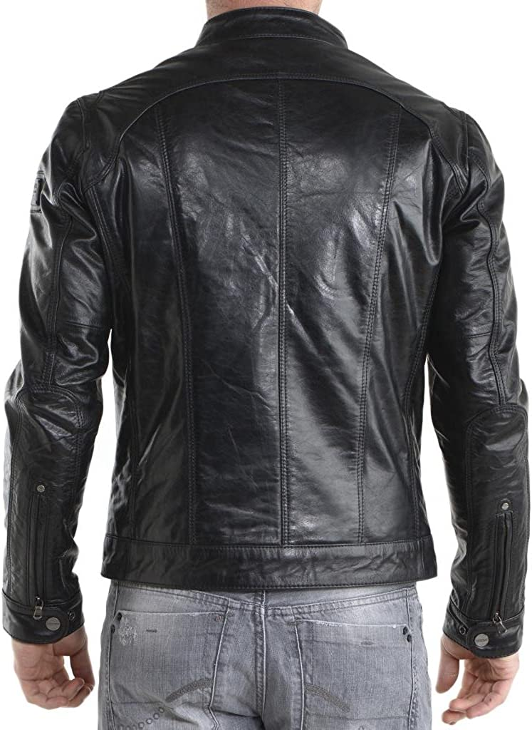 Men Moto Cow Hide Motorcycle Real Leather Jacket C171
