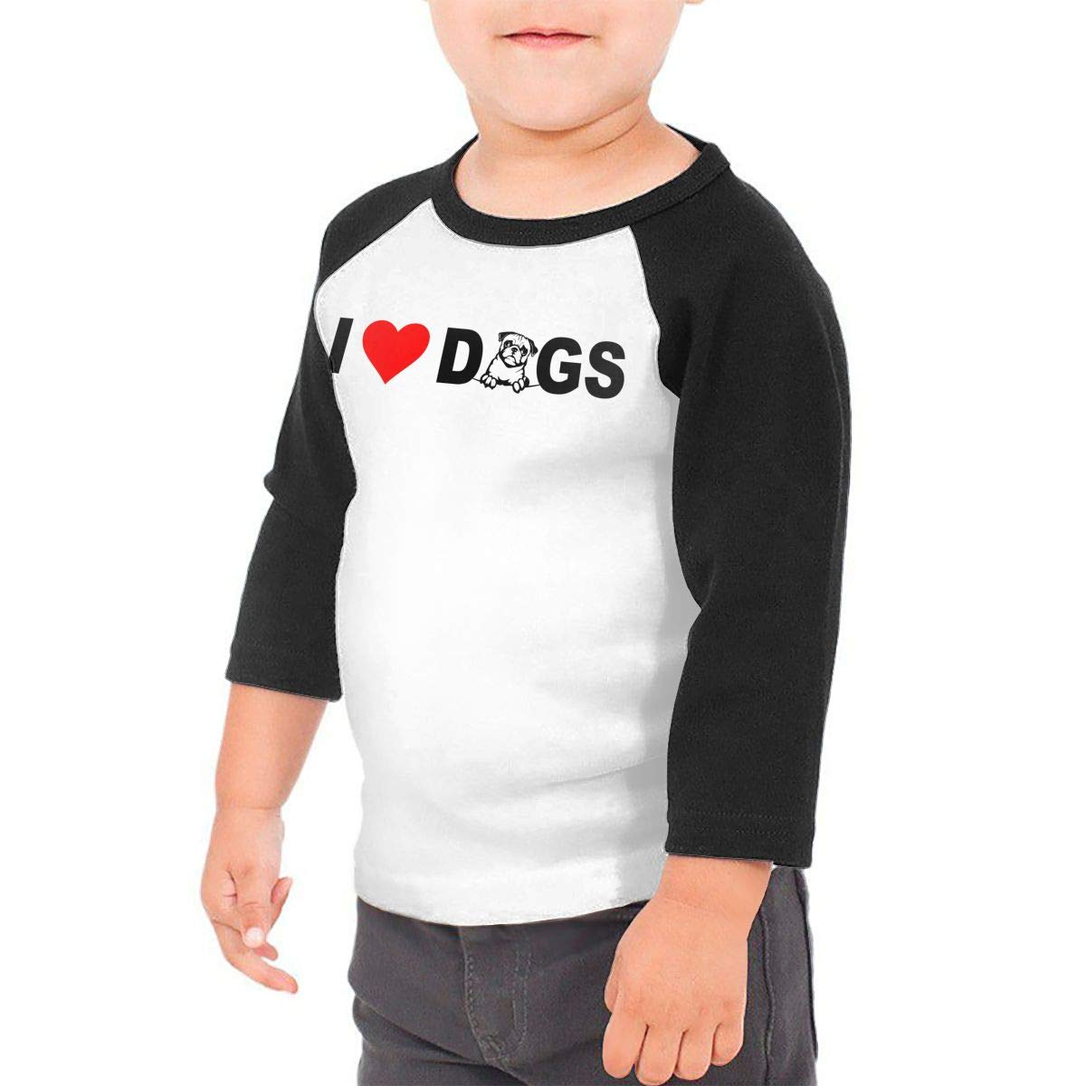 I Love Dogs 1 Unisex Toddler Baseball Jersey Contrast 3//4 Sleeves Tee