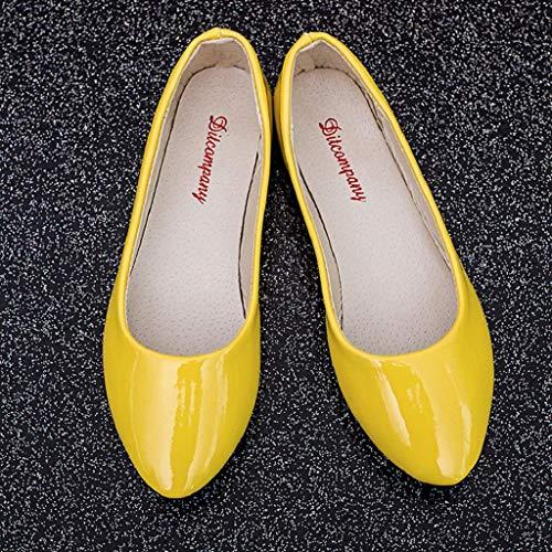 Donna Slip Scarpe On Sneakers Piatta Giallo Moda Casual Abcone In Mocassini Elegante Punta A Stivali Pelle Da npY15x0tqw