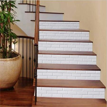 6 Pcs 3D Pegatinas De Escaleras. Pegatina de suelo impermeable de ladrillo blanco bricolaje autoadhesivo. Escalera de casa decorada 18 × 100cm: Amazon.es: Hogar