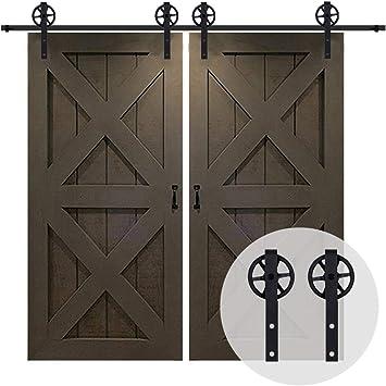 152CM/5FT Herraje para Puerta Corredera Kit de Accesorios, Guia Riel Puertas Correderas, Rueda grande Forma J: Amazon.es: Bricolaje y herramientas