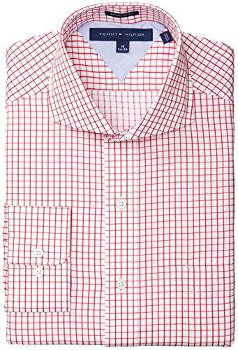 Tommy Hilfiger Men's Regular Fit Grid Check, Red, 16.5 32/33