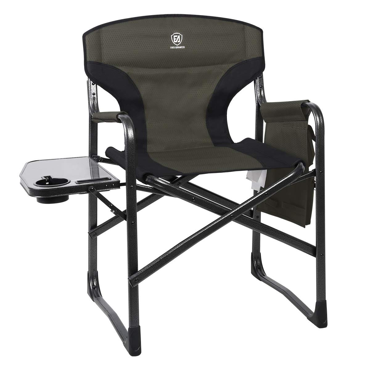 EVER ADVANCED Full Back Aluminum Folding Directors Chair with Side Table and Storage Pouch Heavy Duty 350LBS by EVER ADVANCED