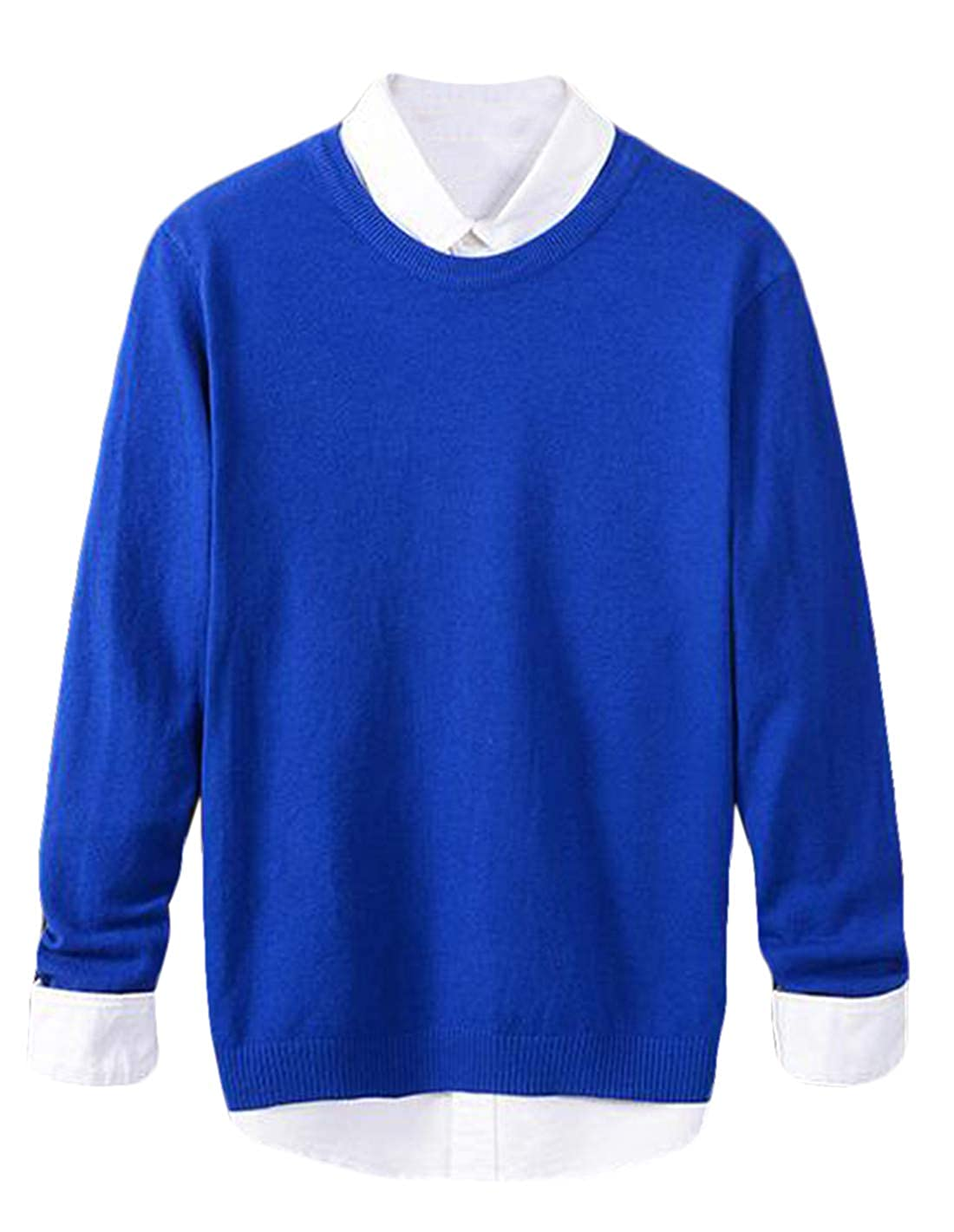 Nanquan Men Slim Fit Crewneck Long Sleeve Pullover Knitted Sweater Tops