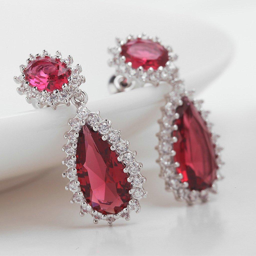 Gold Plated Earring Women Girl Teardrop Stud Earrings Red Wedding Wedding Gift