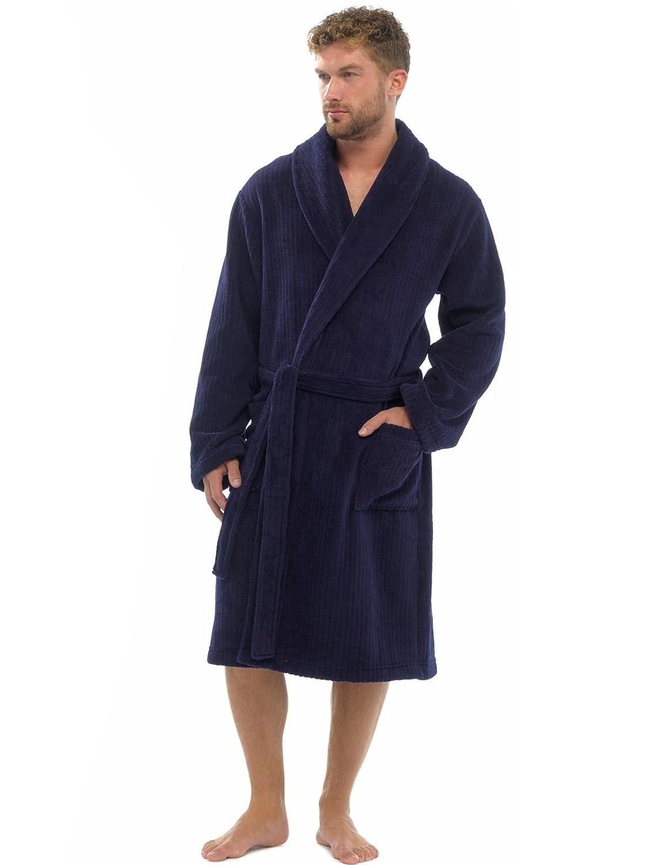 Mens Luxury Soft Comfy Fleece Dressing Gown Robe Nightwear: Amazon ...