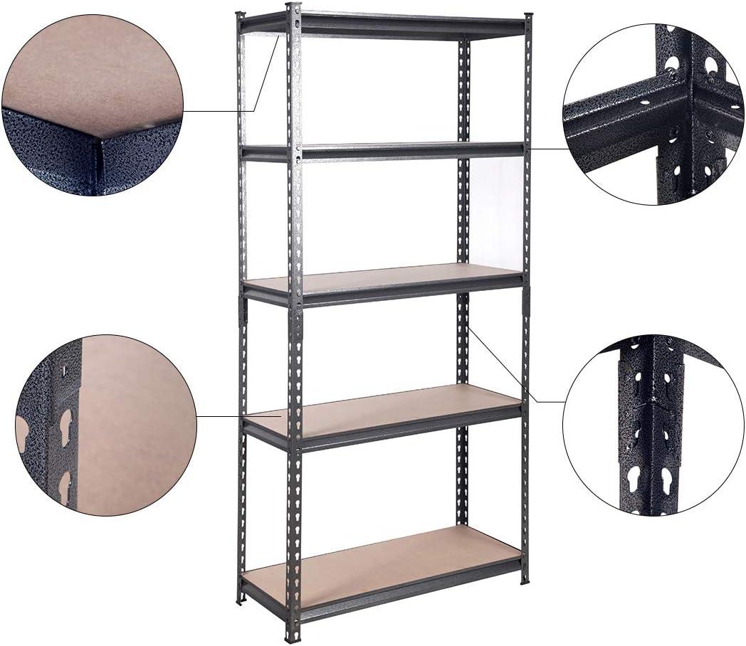 Heavy Duty Metal Racking,Steel/&MDF Boltless Shelves,Chrome 5 Tier BAAB ORGANIZING Garage Shed Storage Shelving Unit,183x 86.5 x 35.5cm 150KG Per Shelf