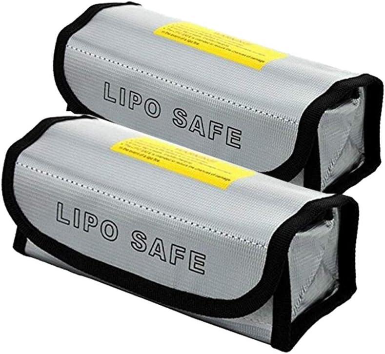 Bolsa de seguridad de la batería para cargar y almacenar, RC Lipo Battery Guard Bolsa de protección para Toys Radio Control Drone Car Vehicle, Incombustible, 185x75x60mm, 2 Piezas