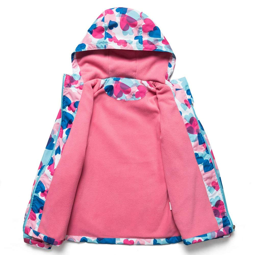 FORESTIME Toddler Baby Girls Winter Warm Fall Hooded Heart Fleece Cartoon Jacket Coat Outwear Clothes
