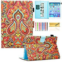 iPad mini 4 Case Cover, Dteck(TM) Ultra Slim PU Leather Stand Smart Cover with [Auto Sleep/Wake Feature] [Corner Protection] Protective Case for Apple iPad mini 4 (2015 Release), India Flower