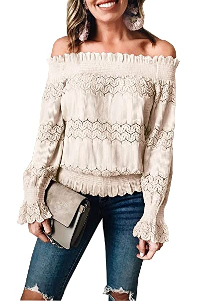 Damen Floral Lace Up Cold Off Shoulder Long Sleeve Shirt Loose Tops-Blouse-Neu